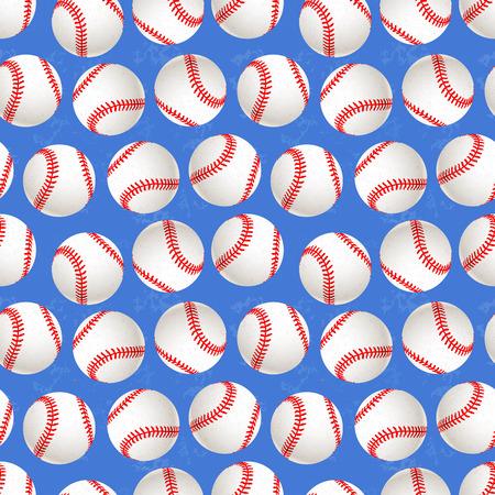A lot of baseball balls on blue background, seamless pattern