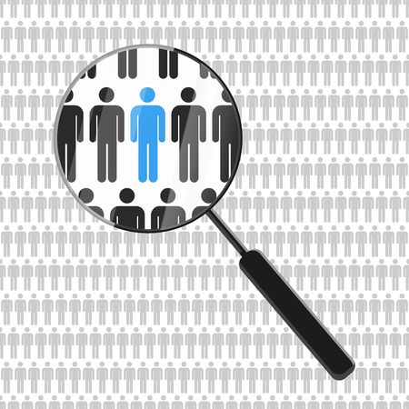 HR looking for a employee in the crowd with a magnifying glass Stock Illustratie