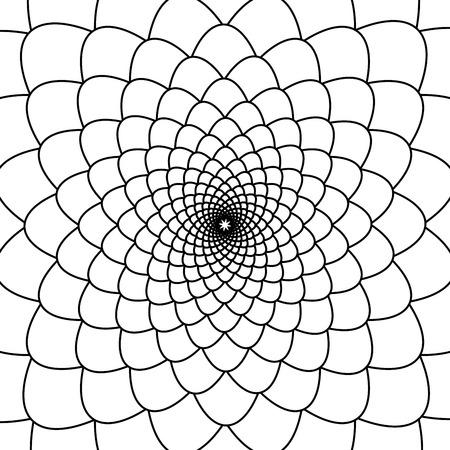 Abstract black and white outline fibonacci background Illustration