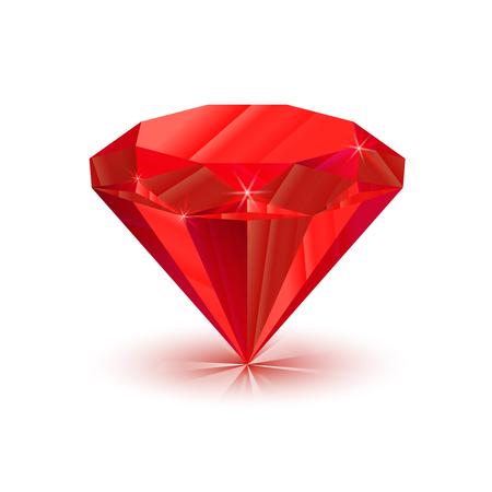 ruby: Rrealistic, bright shiny ruby isolated on white Illustration