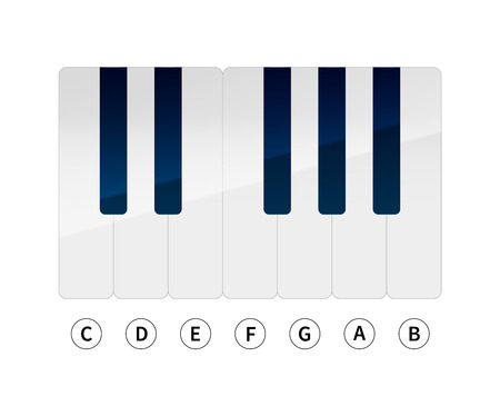 isolates: Piano keys with music notes isolated on white