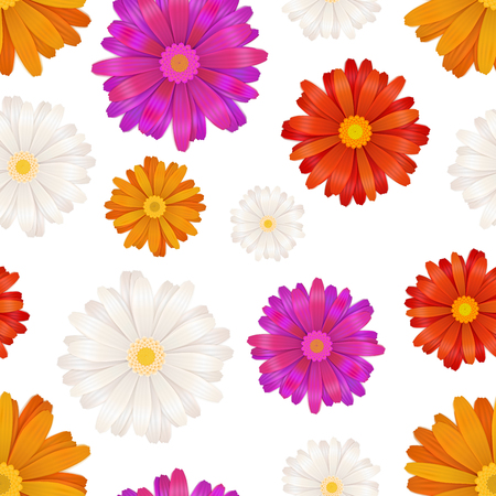 A lot of colourful gerbera flowers isolated on white, seamless pattern Illustration