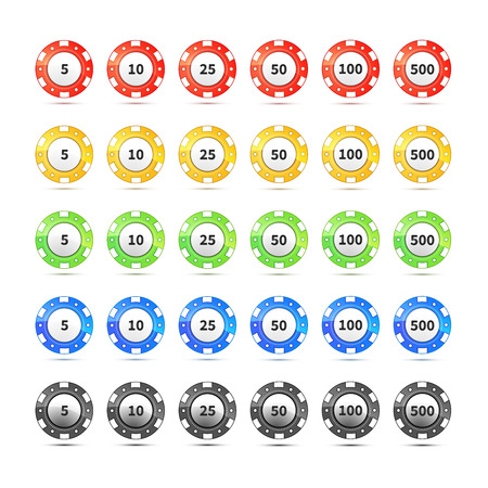 nominal: Big set of different nominal and colours casino chips isolated on white Illustration
