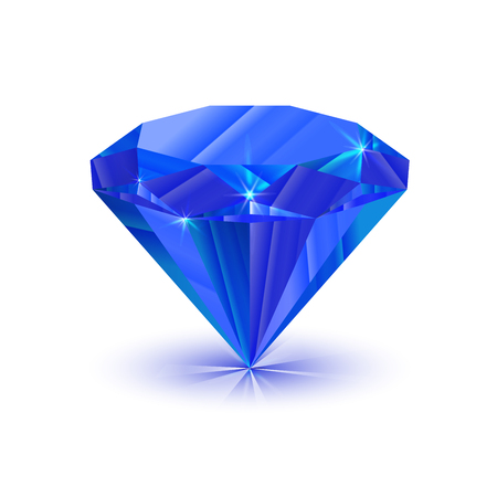 solitaire: Realistic bright shiny sapphire isolated on white