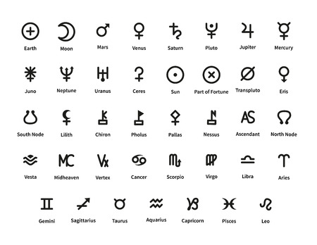 Large set of planet and constellations signs isolated on white 일러스트
