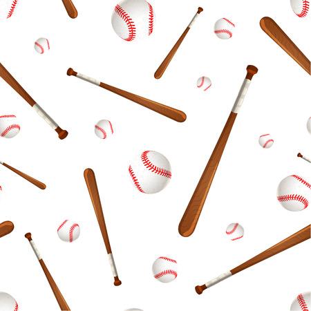 baseball stuff: Baseball bats and balls isolated on white, seamless pattern Illustration