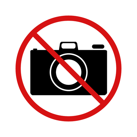 no cameras allowed: No photo, forbidden sign isolated on white Illustration