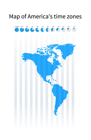 americas: Map of Americas time zones, blue silhouette on white Illustration