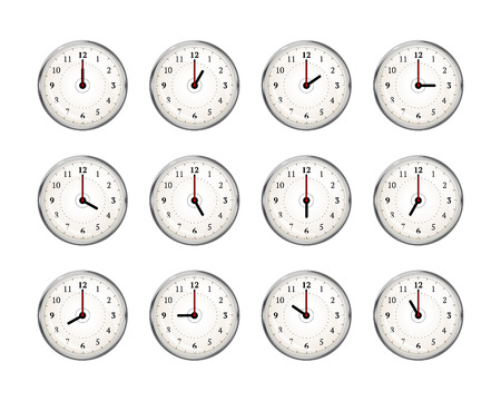 Set of clocks icons for every hour of day isolated on white