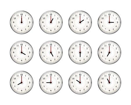 Set von Uhren-Symbole für jede Stunde des Tages auf weiß isoliert Vektorgrafik
