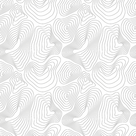 cartography: Heights map, black contour on white, seamless pattern