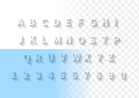 Transparent letters with long shadow. Font with full latin alphabet and numbers. Stock Illustratie