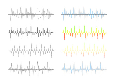 frequency modulation: Set of different analog and digital signal waves graphs isolated on white
