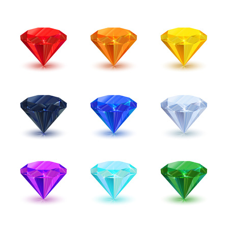 Set of bright shiny gemstone isolated on white. Diamond, sapphire, ruby, emerald, and other.  イラスト・ベクター素材