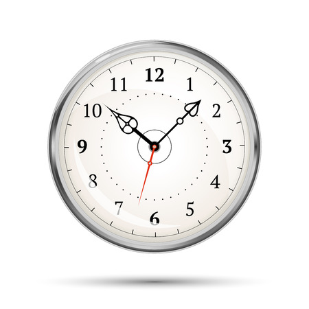 morning noon and night: Realistic metal glossy clock isolated on white Illustration
