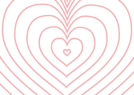 cordial: Infinity pink heart silhouette on white, a4 size horizontal illustration