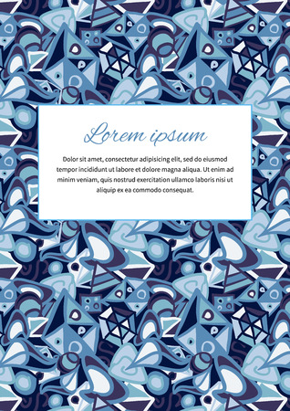 a5: Cute card cover with abstract blue background and text space, a5 size