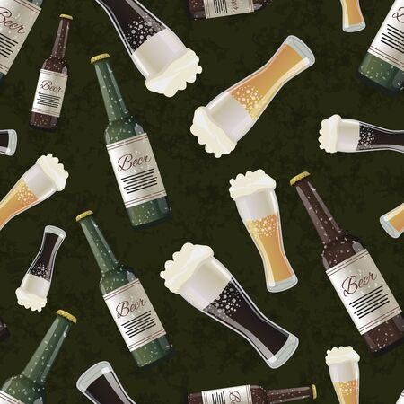green grunge background: Bottles and glasses of dark and light beer on green grunge background, seamless pattern