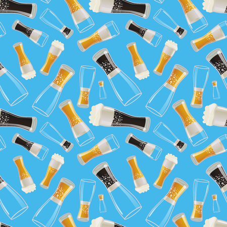 beach wrap: A lot of glasses with different soda on blue background, seamless pattern