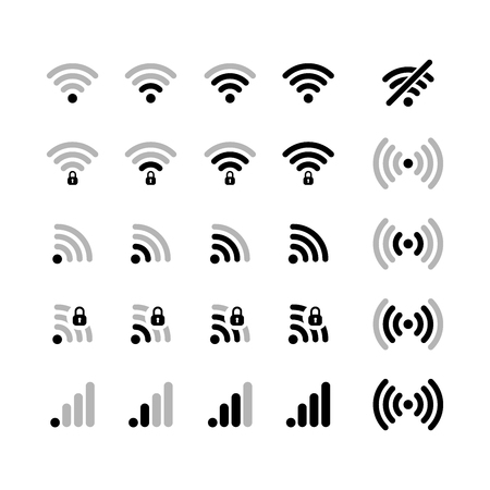 wifi icon: Set of different wifi connection black icons on white Illustration