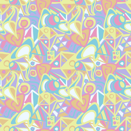 Cute abstract seamless pattern in pastel colors Vector Illustration