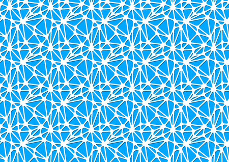 White neural network on blue, horizontal abstract background a4 size