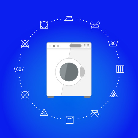 white wash: White wash machine with laundry icons on blue, square illustration