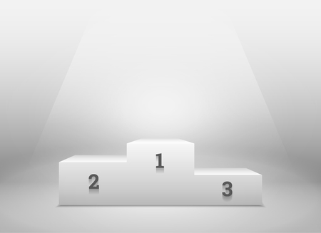 pedestal: Pedestal for winners, podium on white background