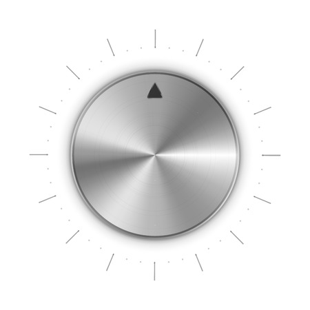 Metal round knob with mark and scale divisions, isolated on white