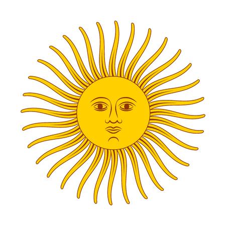Vintage retro sun, bright color illustration isolated on white Ilustração Vetorial