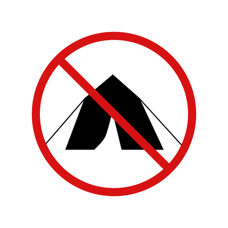 clandestine: No tent, camping forbidden sign isolated on white