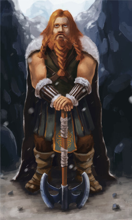 Scandinavian viking with ax on the mountain, realistic illustration