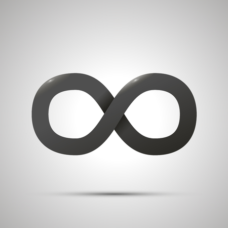 Black simple Infinity sign with shadow on white background
