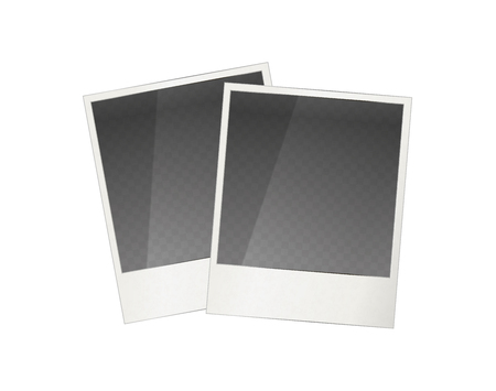 polariod frame: Two realistic  photo frame with transparent place for image, isolated on white Illustration