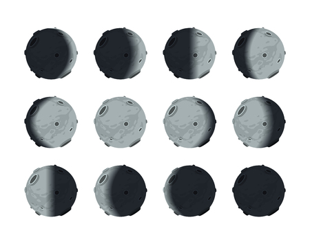 The whole cycle of moon phases from new moon to full, isolated on white