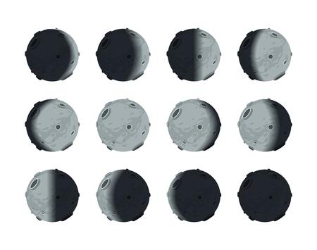 Todo el ciclo de fases lunares de luna nueva por completo, aislado en blanco