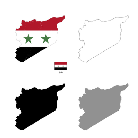 observation: Syria country black silhouette and with flag on background, isolated on white Illustration