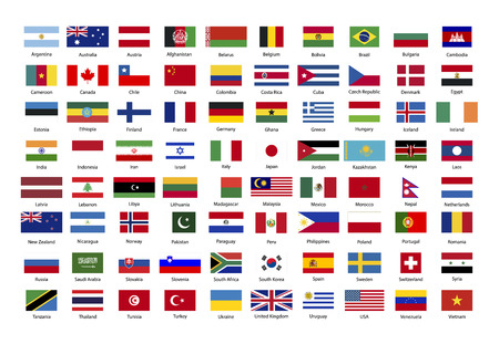 Set of true proportions flags of world sovereign states isolated on white