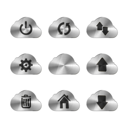 torrent: Set of nine metal cloud icons with different interface signs, isolated on white Illustration
