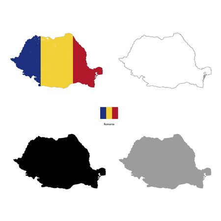 rumania: Romania country black silhouette and with flag on background, isolated on white Illustration
