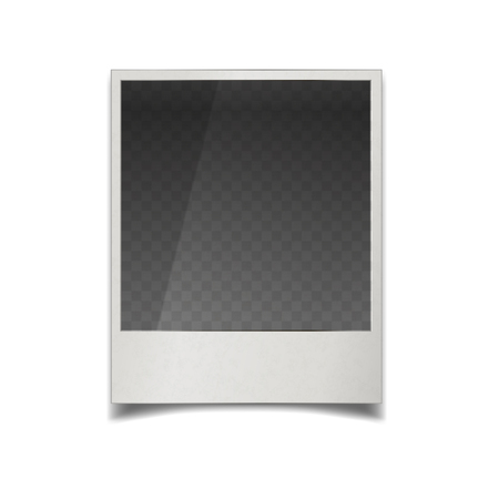 Realistic instant film photo frame with transparent place for image, isolated on white
