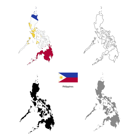 Philippines country black silhouette and with flag on background, isolated on white Illustration