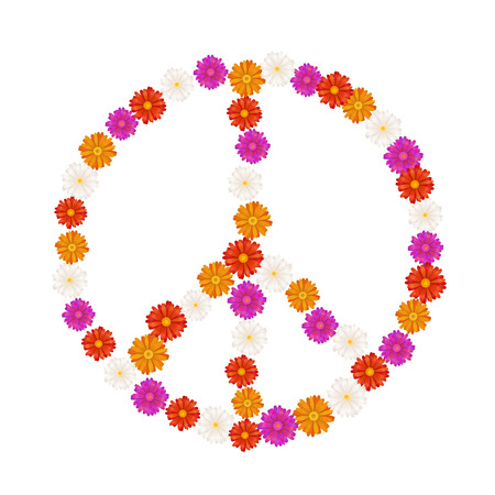 Pacifist sign made up from colourful gerbera flowers, isolated on white