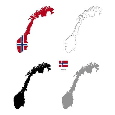 norway flag: Norway country black silhouette and with flag on background, isolated on white
