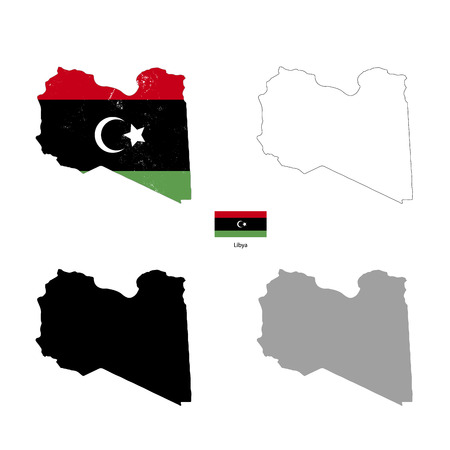 lybia: Libya country black silhouette and with flag on background, isolated on white