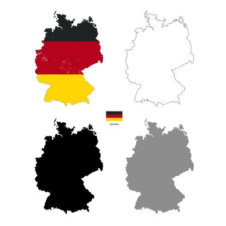 Germany country black silhouette and with flag on background, isolated on white