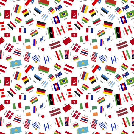 sovereign: Flags of world sovereign states with names on white, seamless pattern Illustration