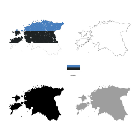 Estonia country black silhouette and with flag on background, isolated on white Illustration
