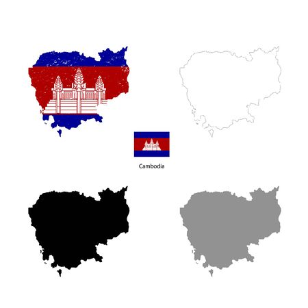Cambodia country black silhouette and with flag on background, isolated on white