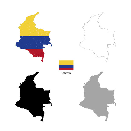 republic of colombia: Colombia country black silhouette and with flag on background, isolated on white Illustration